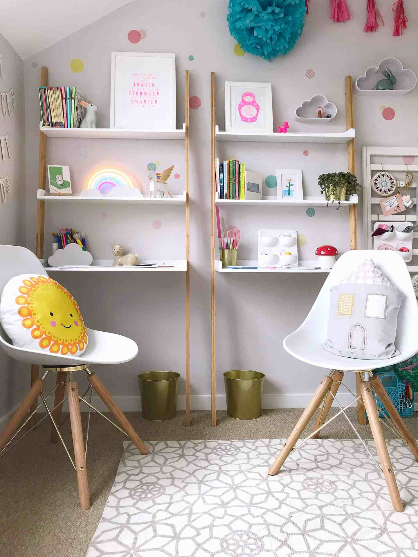 Matching child-friendly, space-saving desks from Futon Company with white Cult Furniture chairs
