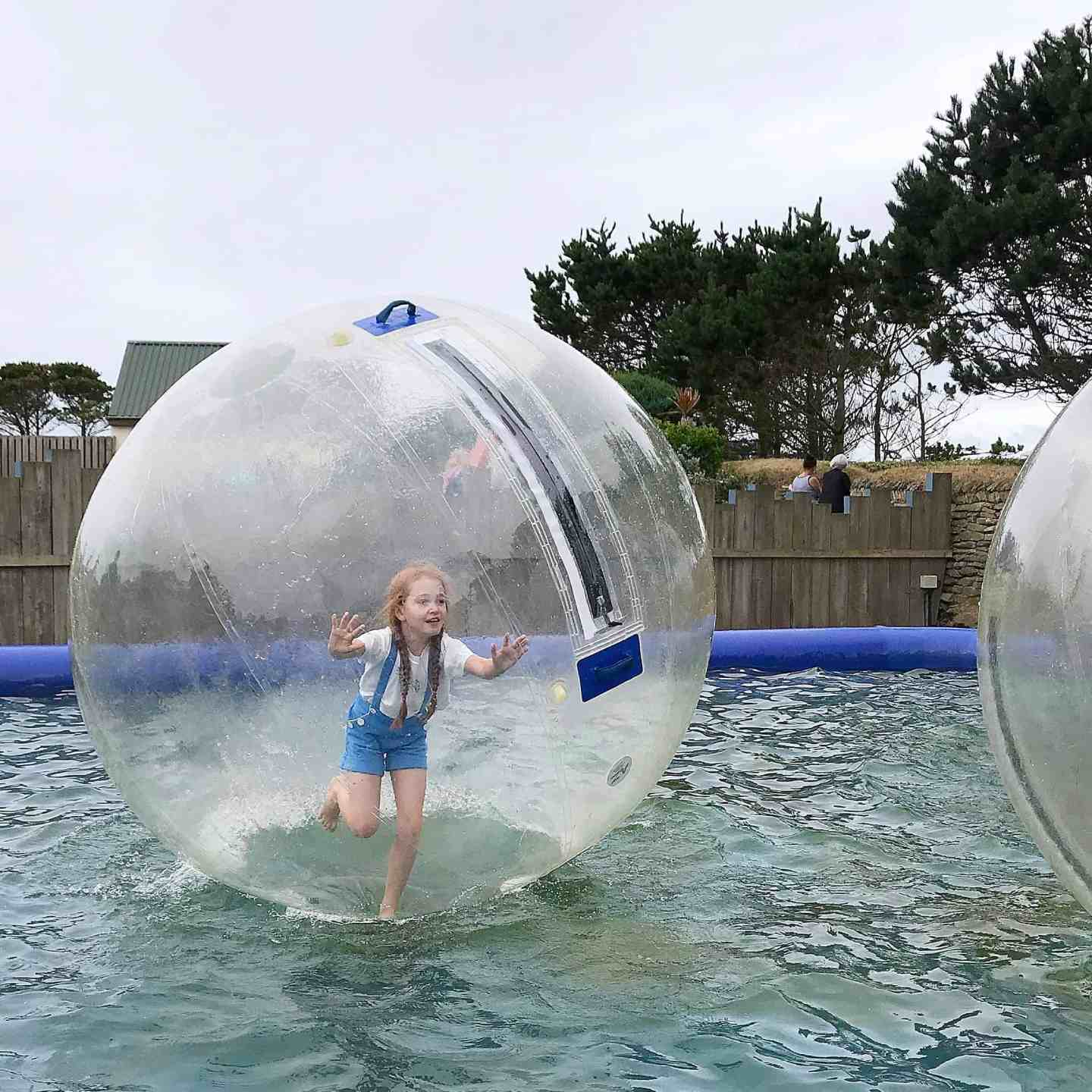Zorbing at Holywell Bay Fun Park, Cornwall