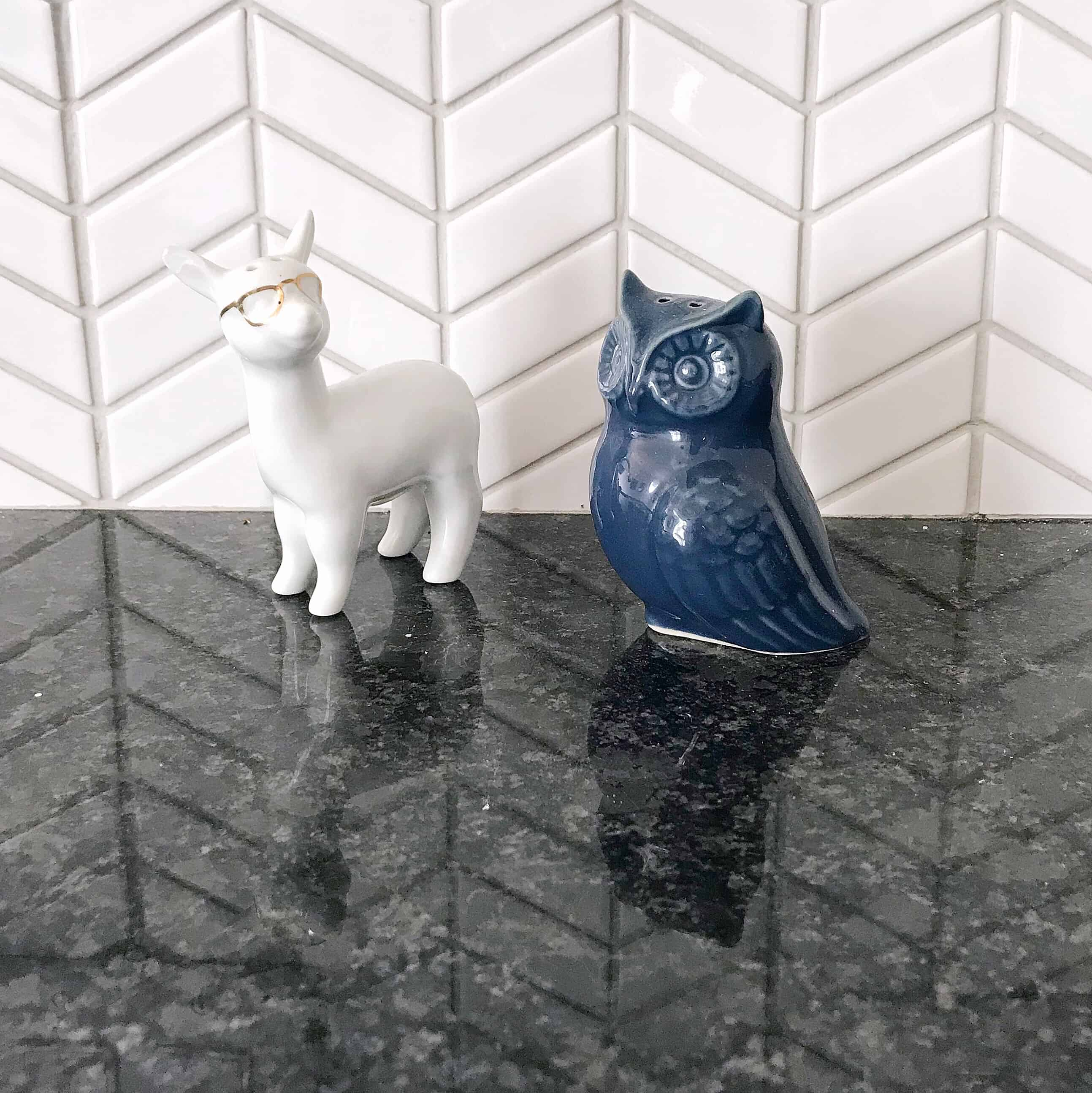 Quirky deer and owl salt and pepper shakers
