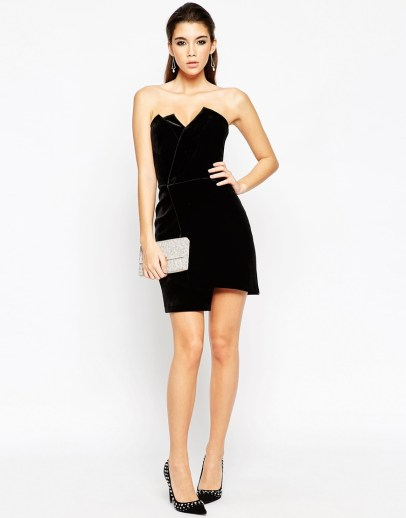 ASOS NIGHT Velvet Asymmetric Bandeau Mini Dress