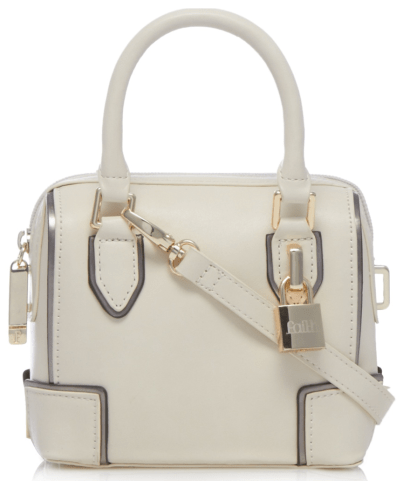 Faith Cream padlock detail mini cross body bag