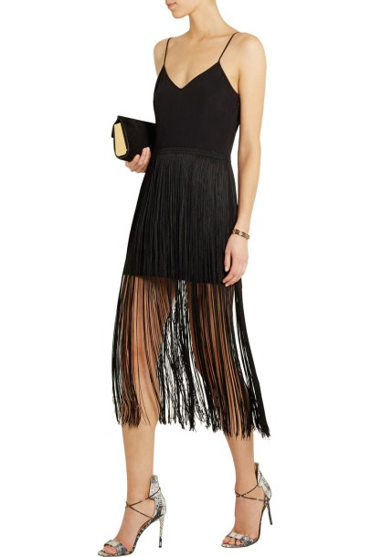 HANEY Elle fringed silk mini dress