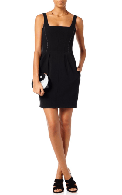L'Agence Black Sleeveless Fitted Mini Dress