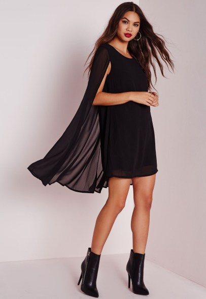 Missguided cape overlay swing dress black