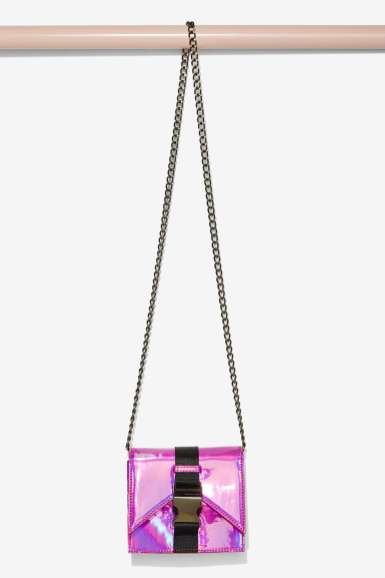 Nasty Gal x Nila Anthony Safety First Holographic Crossbody Bag