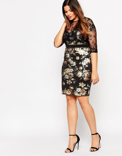 Paper Dolls Plus Metallic Floral Print Pencil Dress With Lace Overlay
