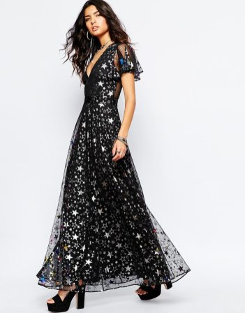 ASOS Reclaimed Vintage Sexy Plunge Neck Maxi Dress In Metallic Star Print