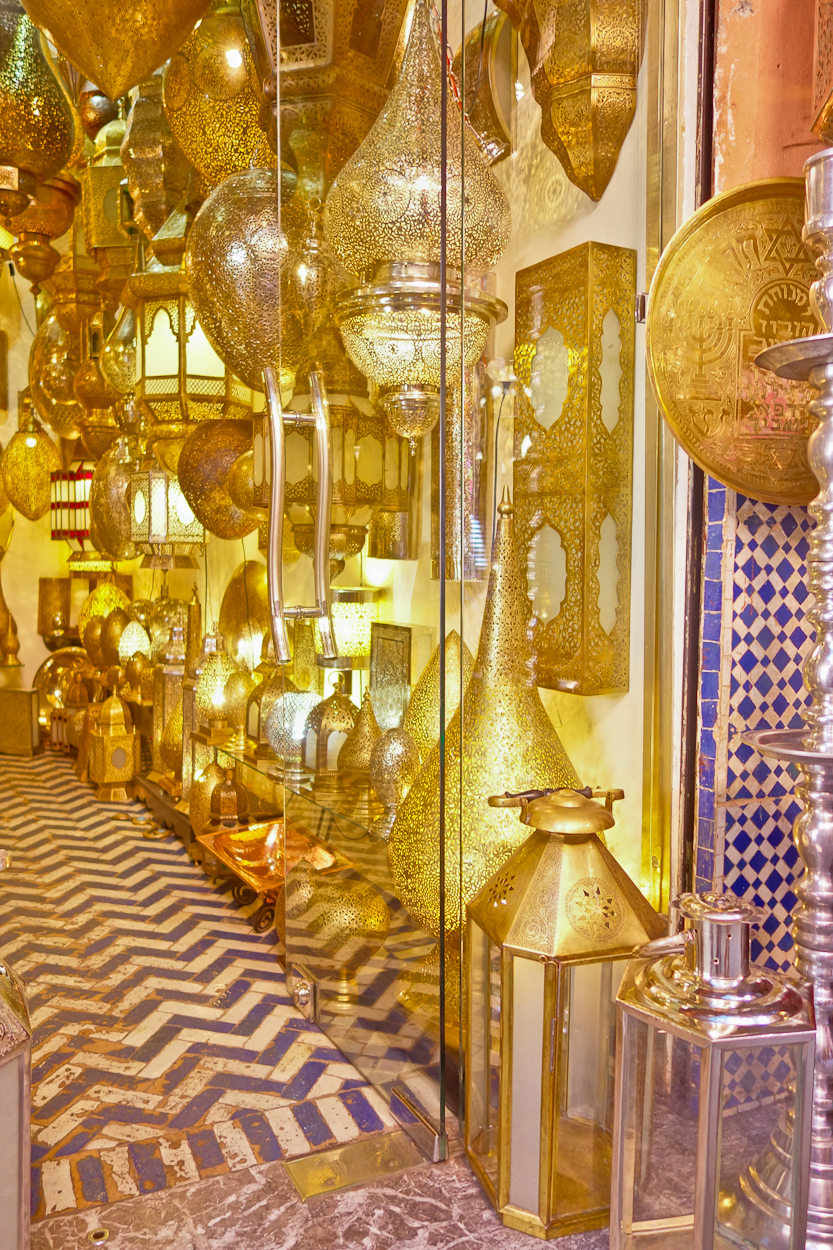 Traditional style Moroccan brass lamps for sale in the souk, Marrakech