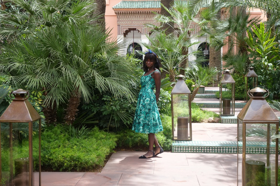 Amah in the entrance courtyard at La Mamounia hotel, Marrakech
