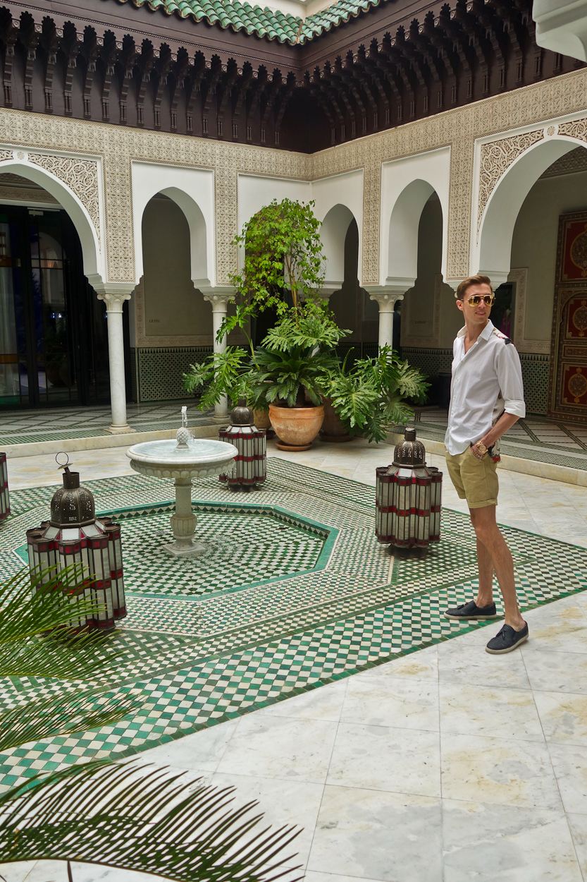 Antoine in the spa courtyard at La Mamounia hotel, Marrakech