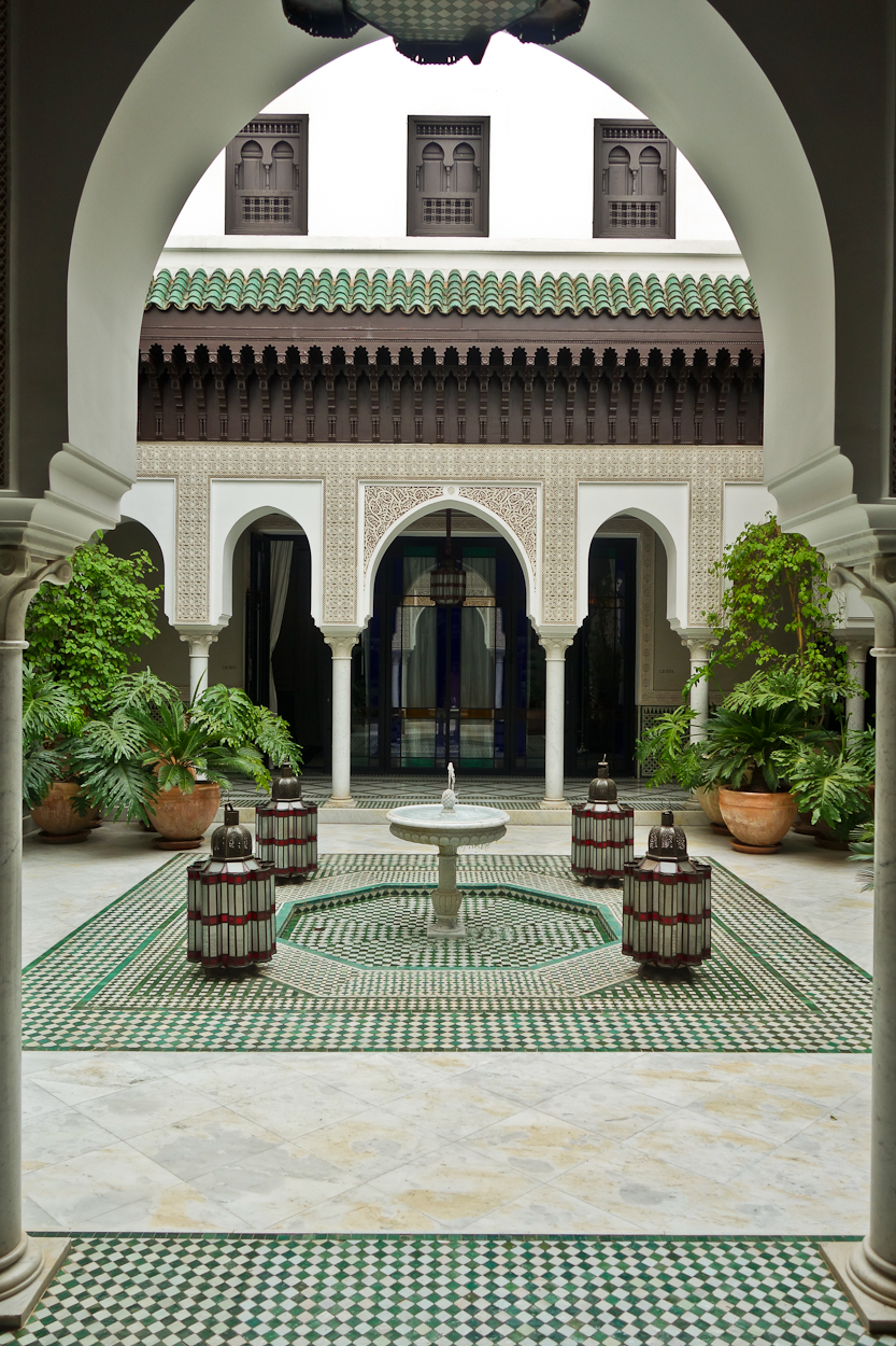 Courtyard near the spa at La Mamounia hotel, Marrakech