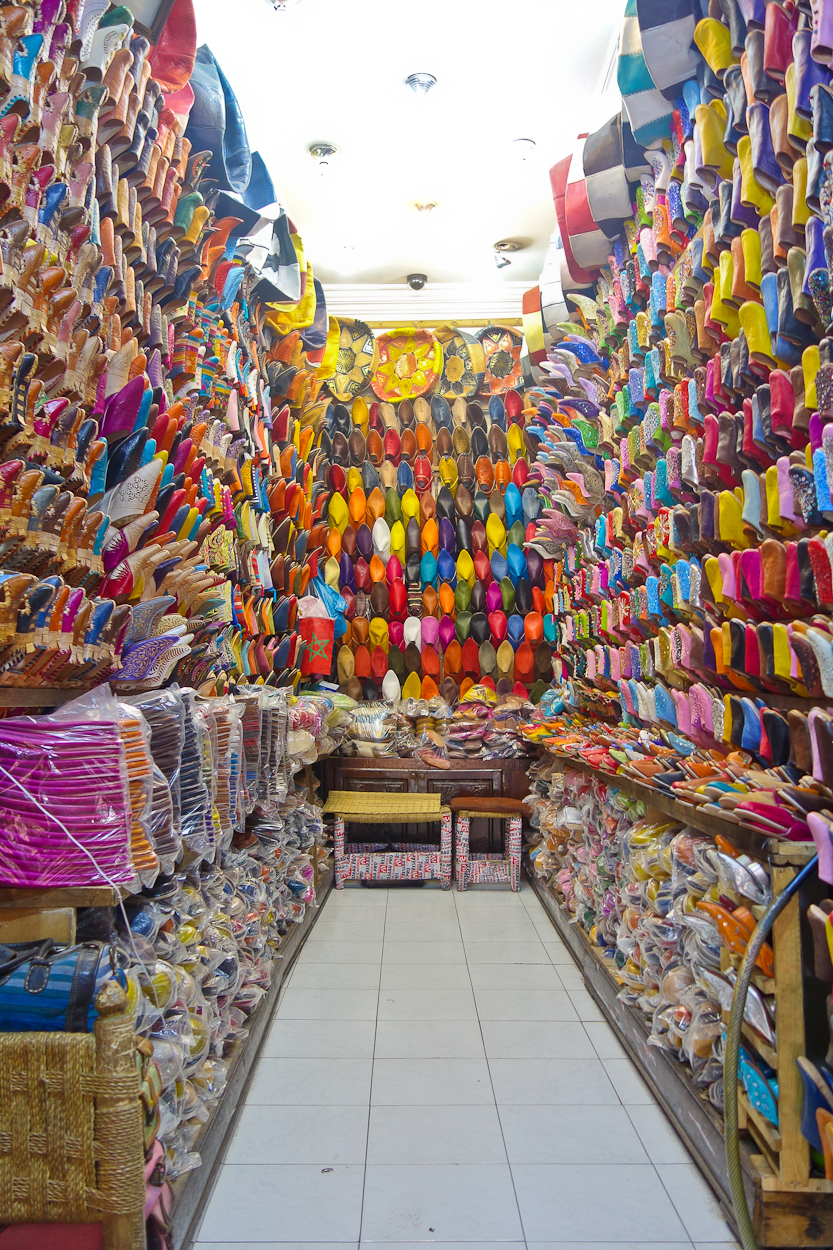 A shop filled with colourful babouche slippers in the souk, Marrakech