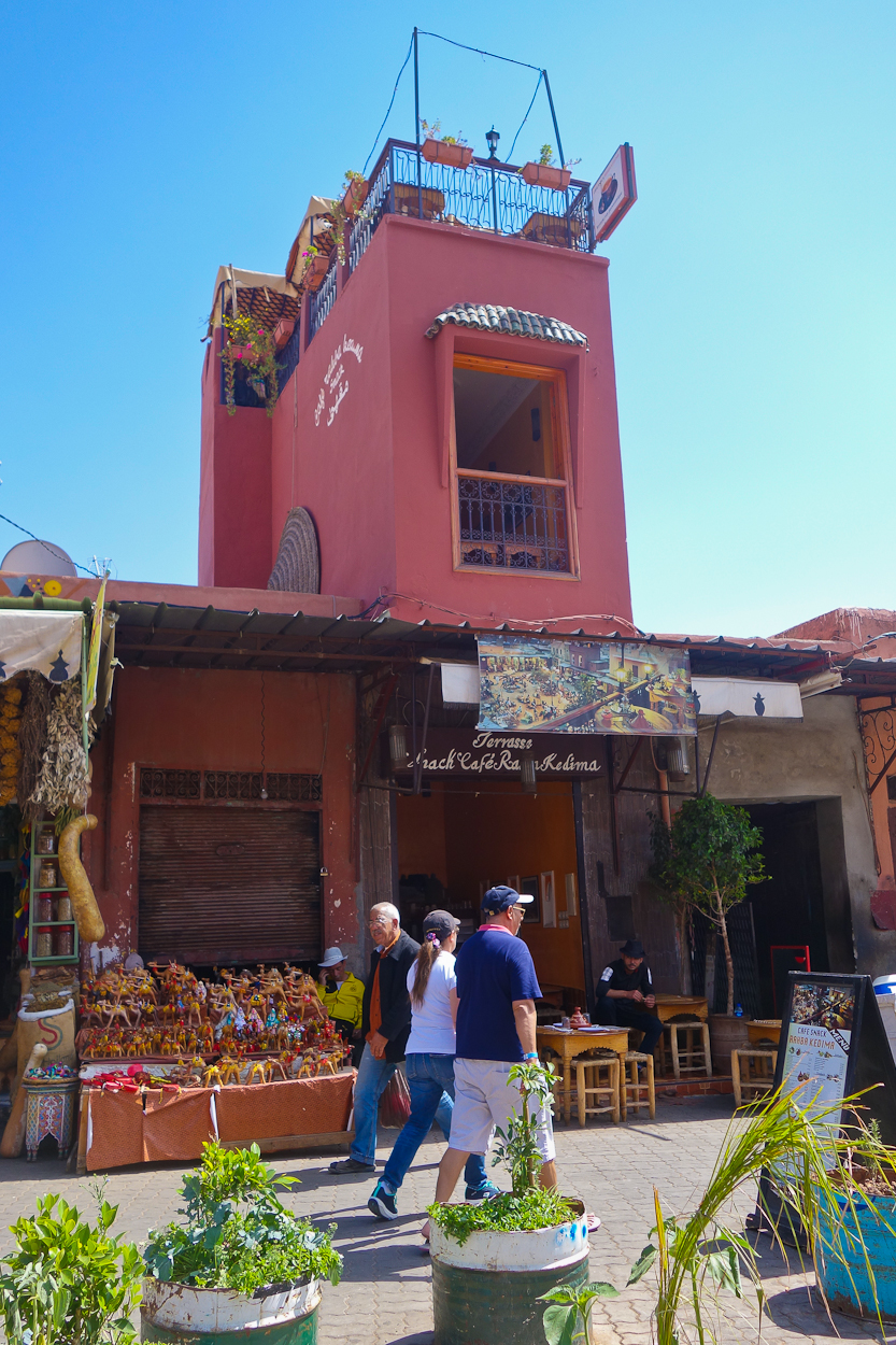 Cafe with rooftop terrace in the medina, Marrakech