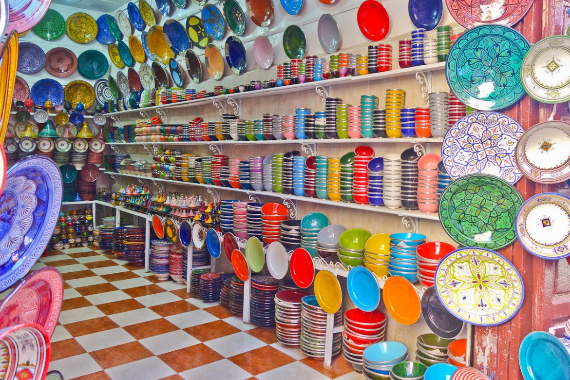 Bright and colourful pottery and dishes for sale in the souk, Marrakech