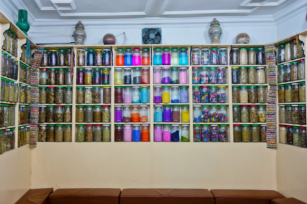 Colourful jars on display in an apothecary, Marrakech