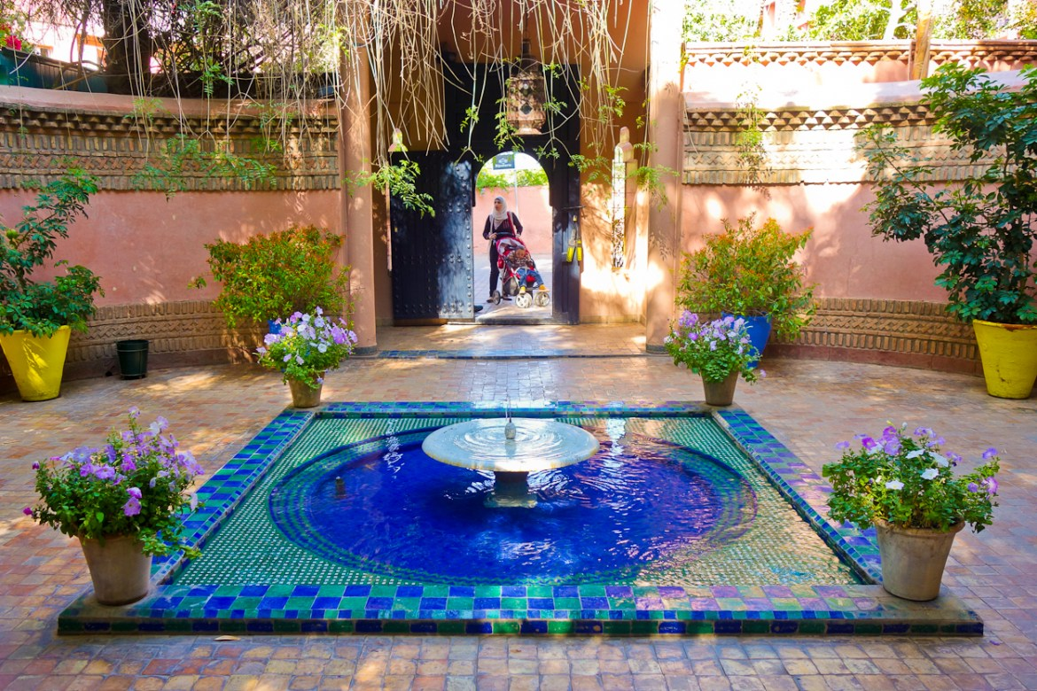 Fountain at the entrance of Jardin Majorelle, Marrakech