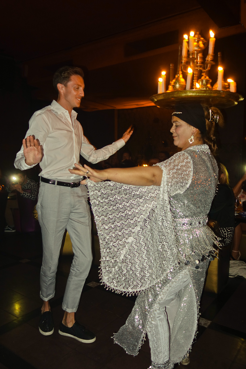 Antoine and a dancer at Comptoir Darna, Marrakech