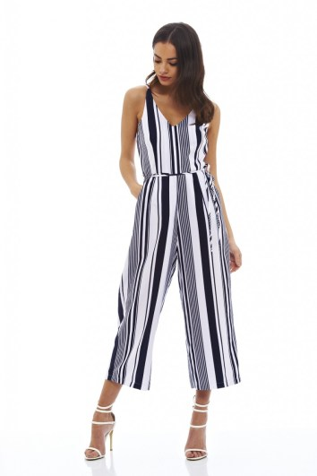 AX Paris STRIPED CULOTTE JUMPSUIT