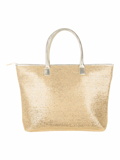 Jane Norman Gold Metallic Woven Beach Bag