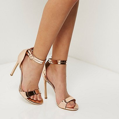 River Island Rose gold tone double strap heels