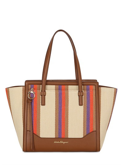 SALVATORE FERRAGAMO AMY WOVEN STRAW BAG WITH LEATHER TRIM