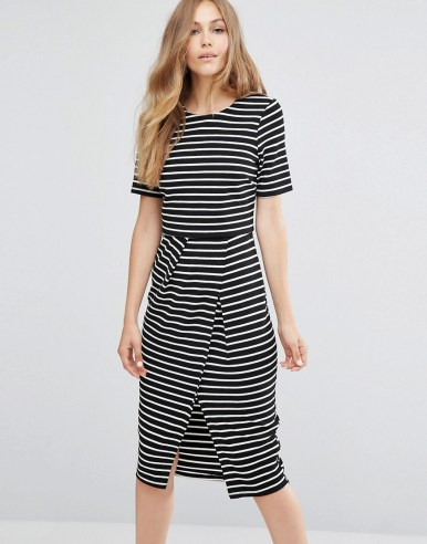 ASOS Double Layer Wiggle Dress in Monochrome Stripe