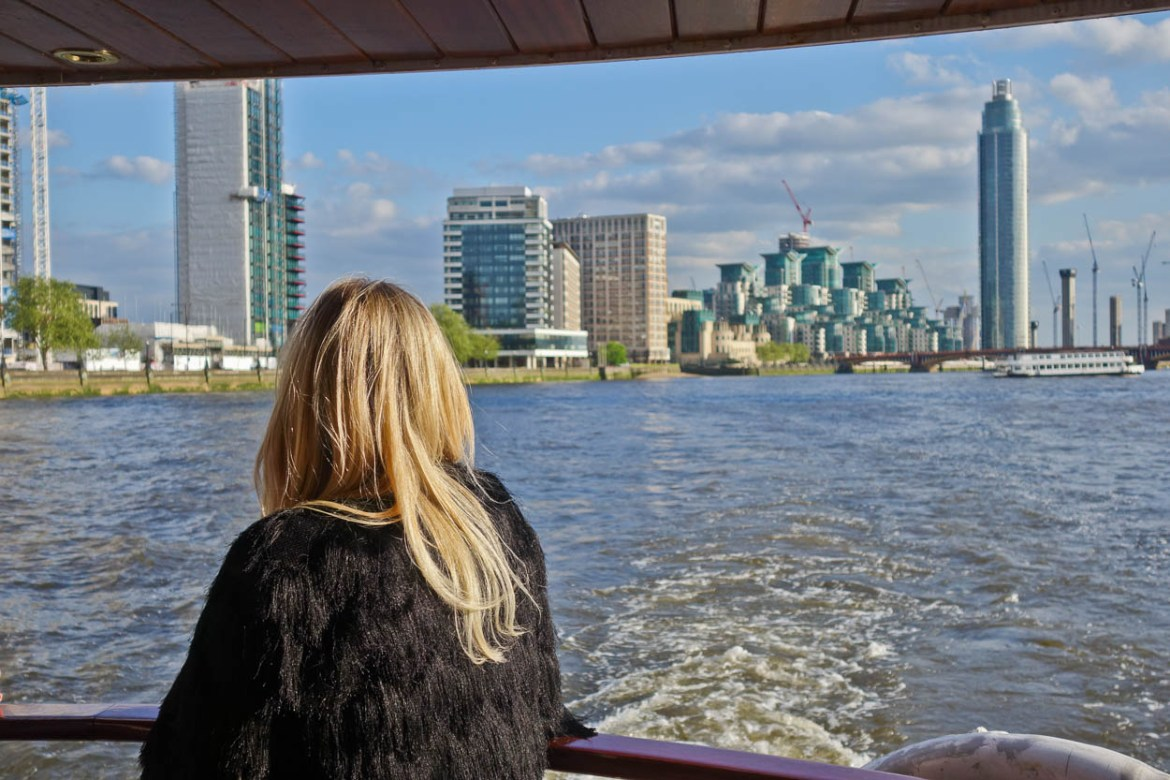 Admiring the view of Vauxhall from the back of the MV Edwardian, London