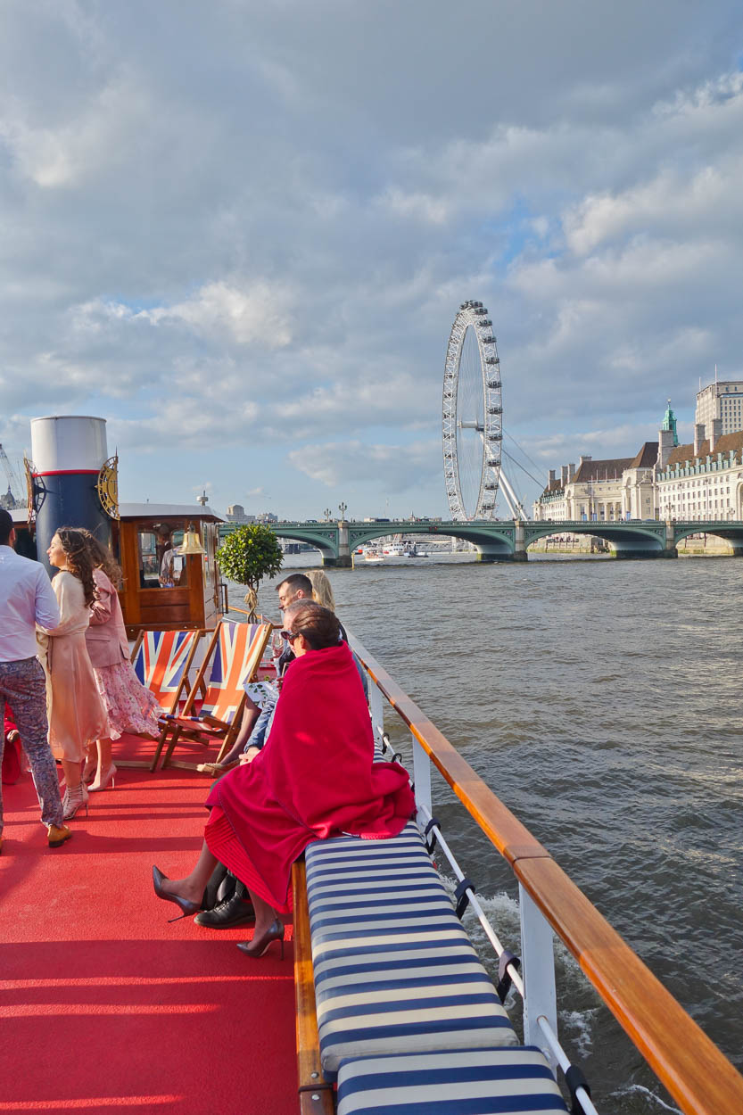 View of the London Eye and County Hall from the MV Edwardian on the Thames, London