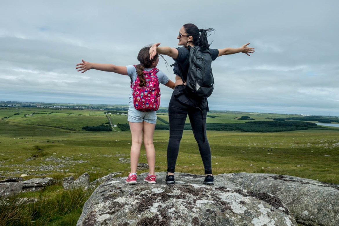 Miss France and Laura feel the wind in their hair on Bodmin Moor, Cornwall