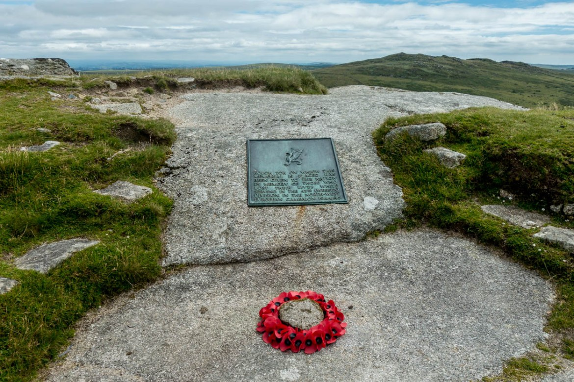 Memorial to 43rd Wessex Division at the top of Rough Tor on Bodmin Moor, Cornwall