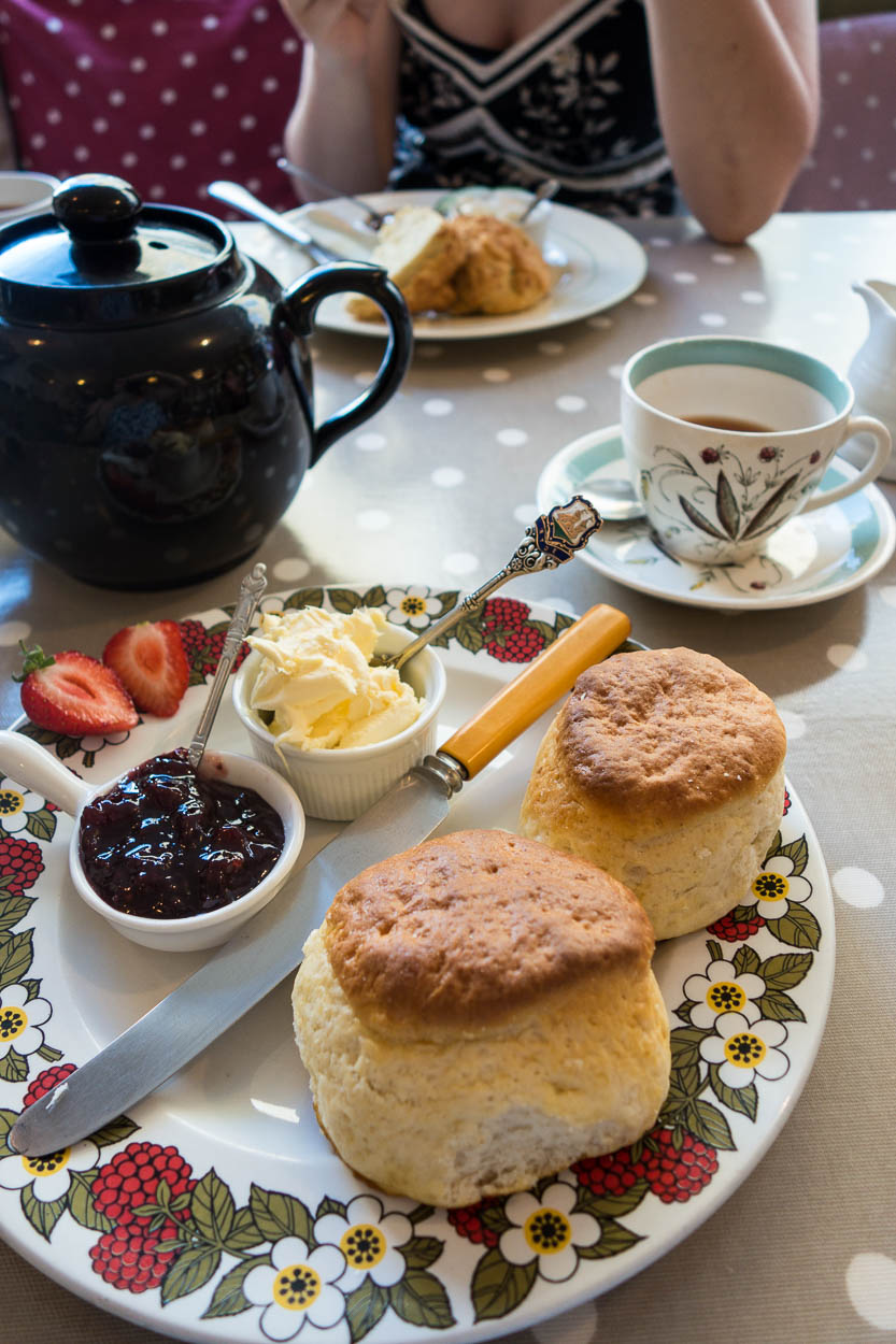 Traditional Cornish cream tea at the Lifebuoy Cafe, Fowey, Cornwall