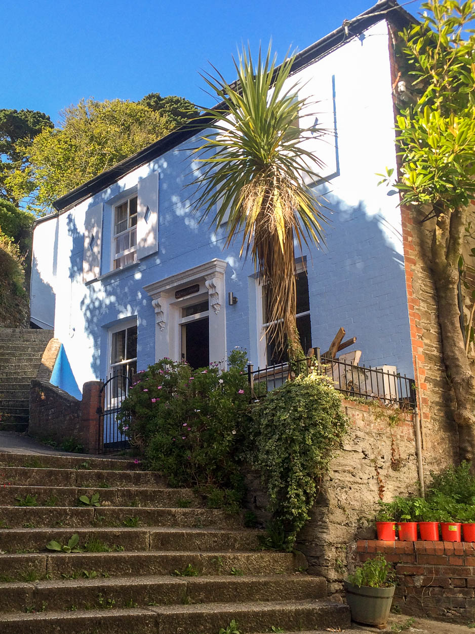 Blue house on the steps in Fowey, Cornwall
