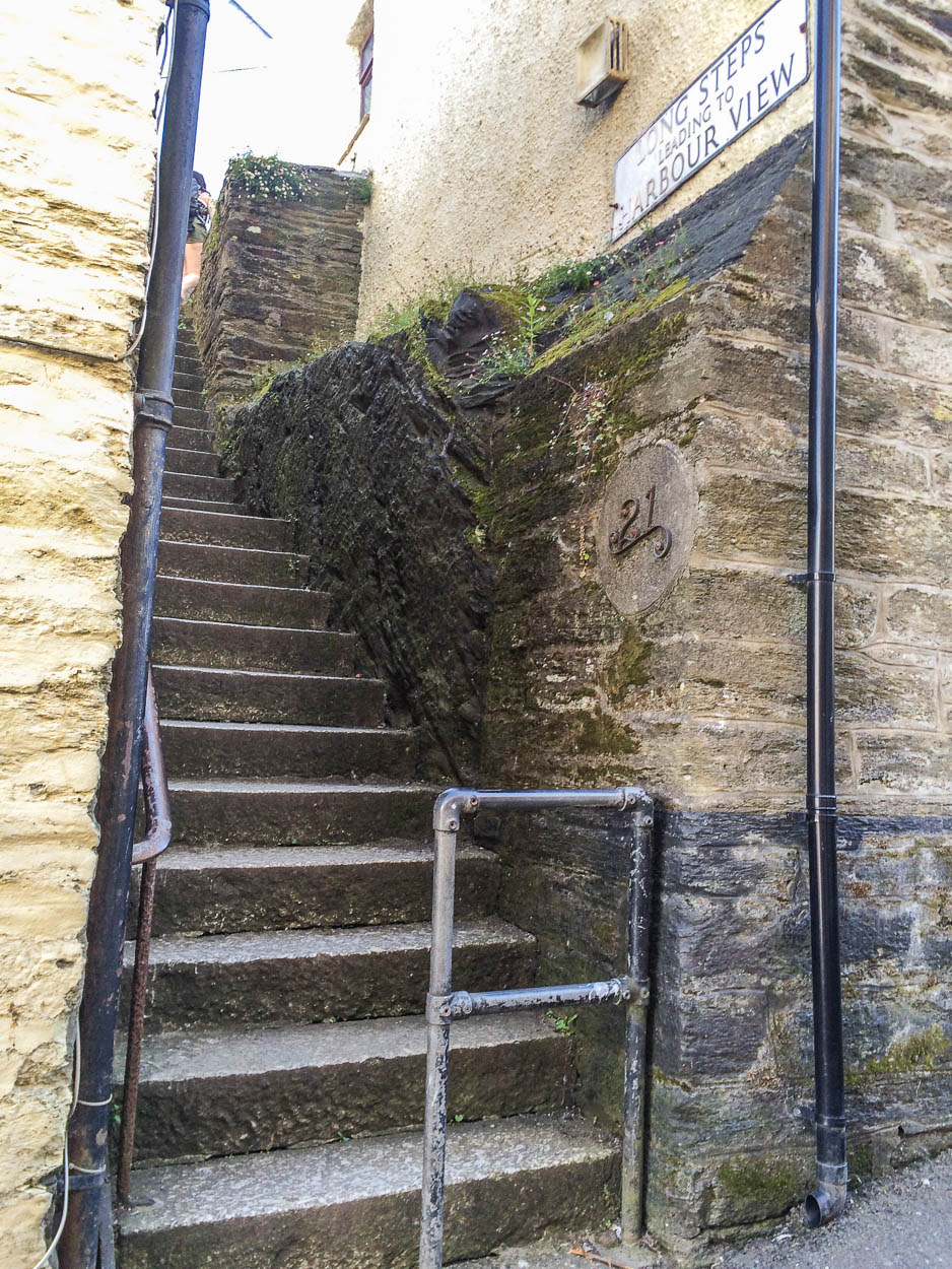 Steps between houses in Fowey, Cornwall
