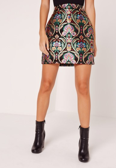 Missguided jacquard a line mini skirt multi