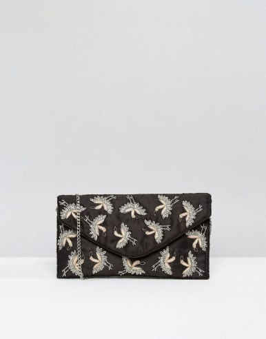 New Look Bird Embroidered Clutch Bag