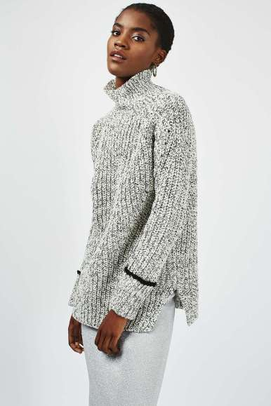 Topshop Oversized Tweedy Funnel Jumper