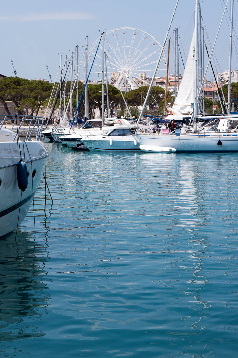 Sailing yachts in the harbour at Port Vauban, Antibes