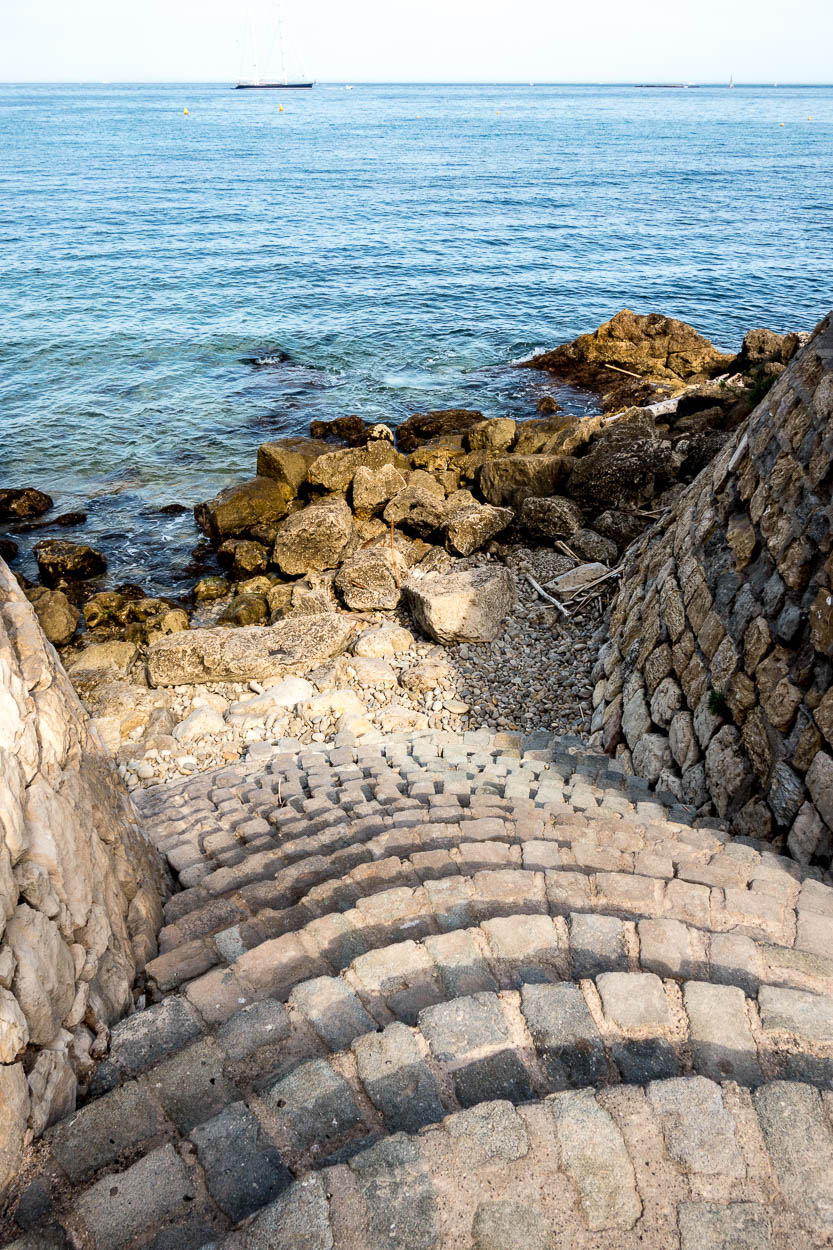 Steps down to the sea from the ramparts of Antibes