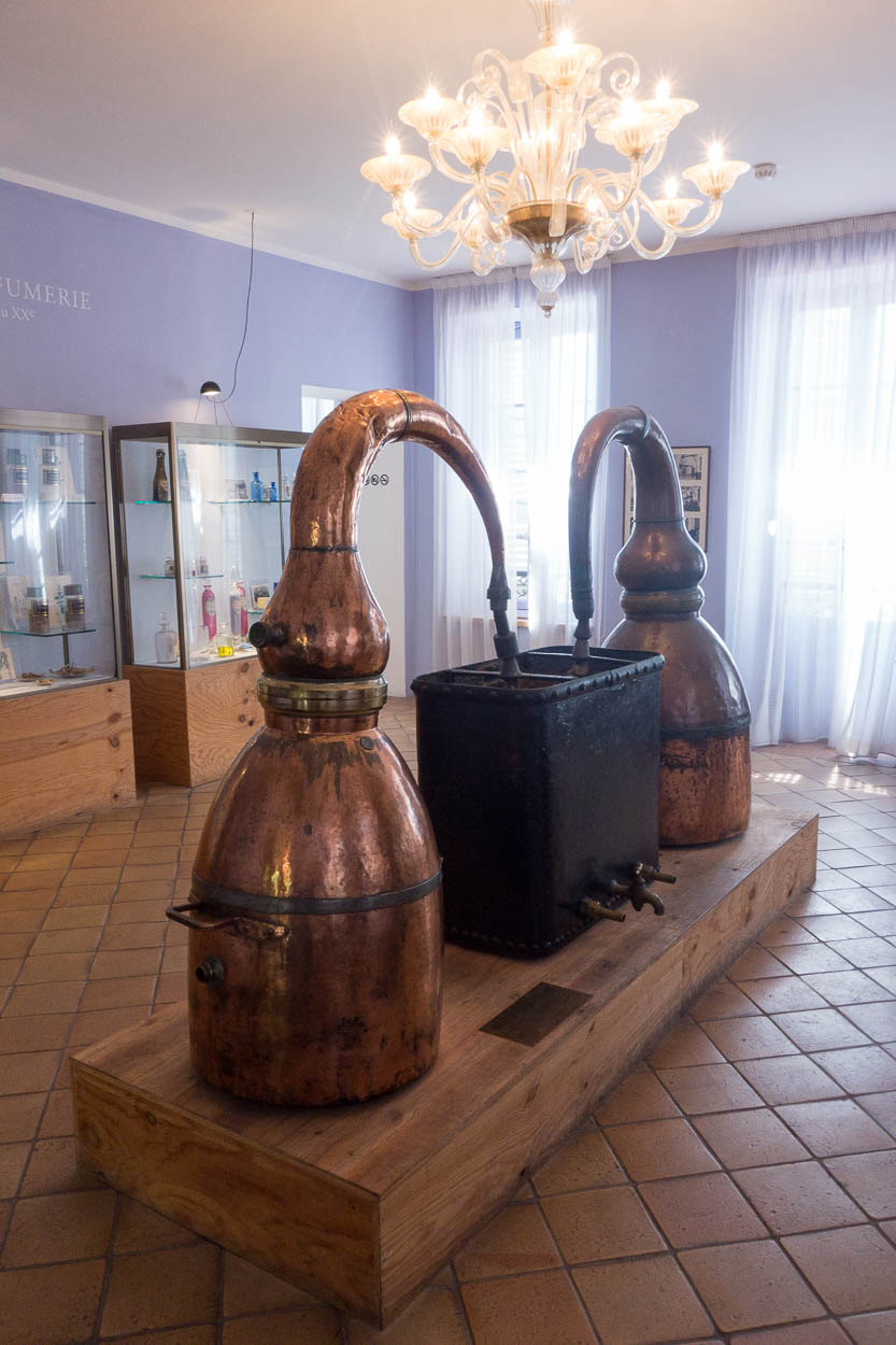 Antique copper stills at the Fragonard museum, Grasse