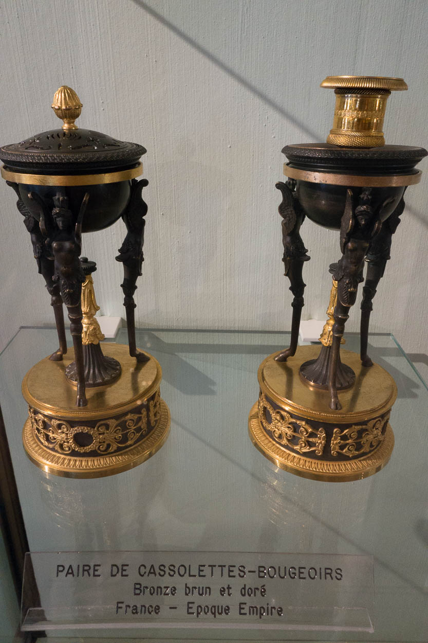 Gilded bronze decorative candlesticks at the Fragonard museum in Grasse