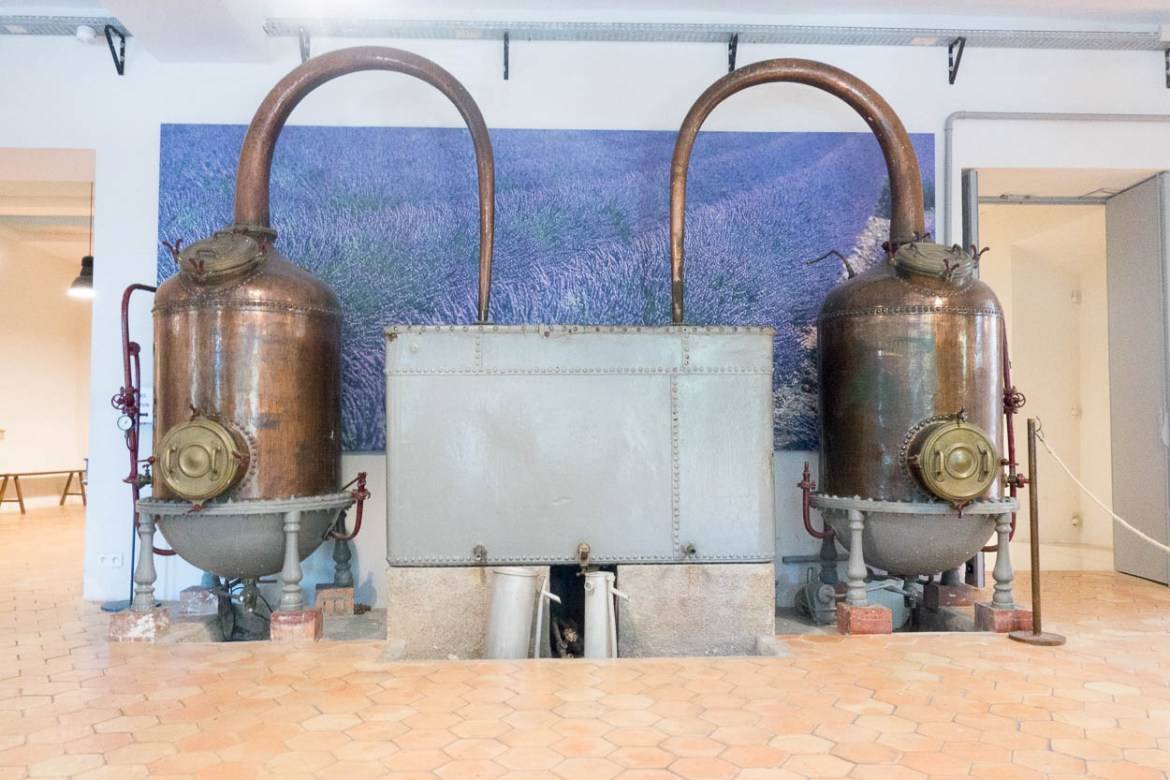 Antique copper still at the Fragonard factory, Grasse