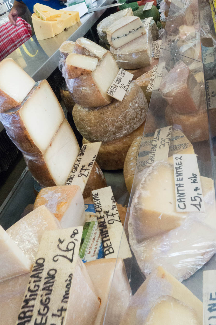 French cheeses for sale in the Provençal Market in Antibes