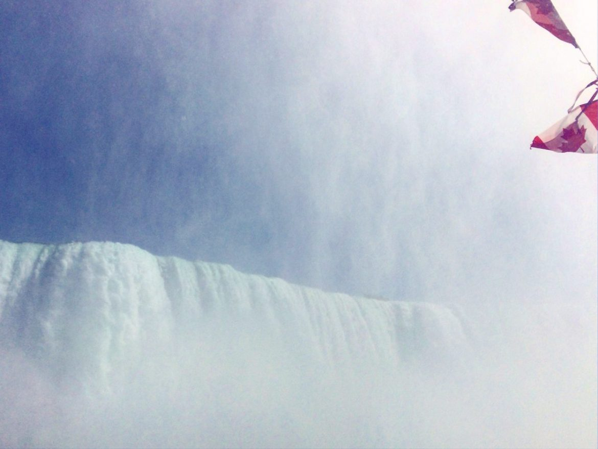 In the mist of the Canadian Horseshoe Falls aboard the Niagara Hornblower Cruise