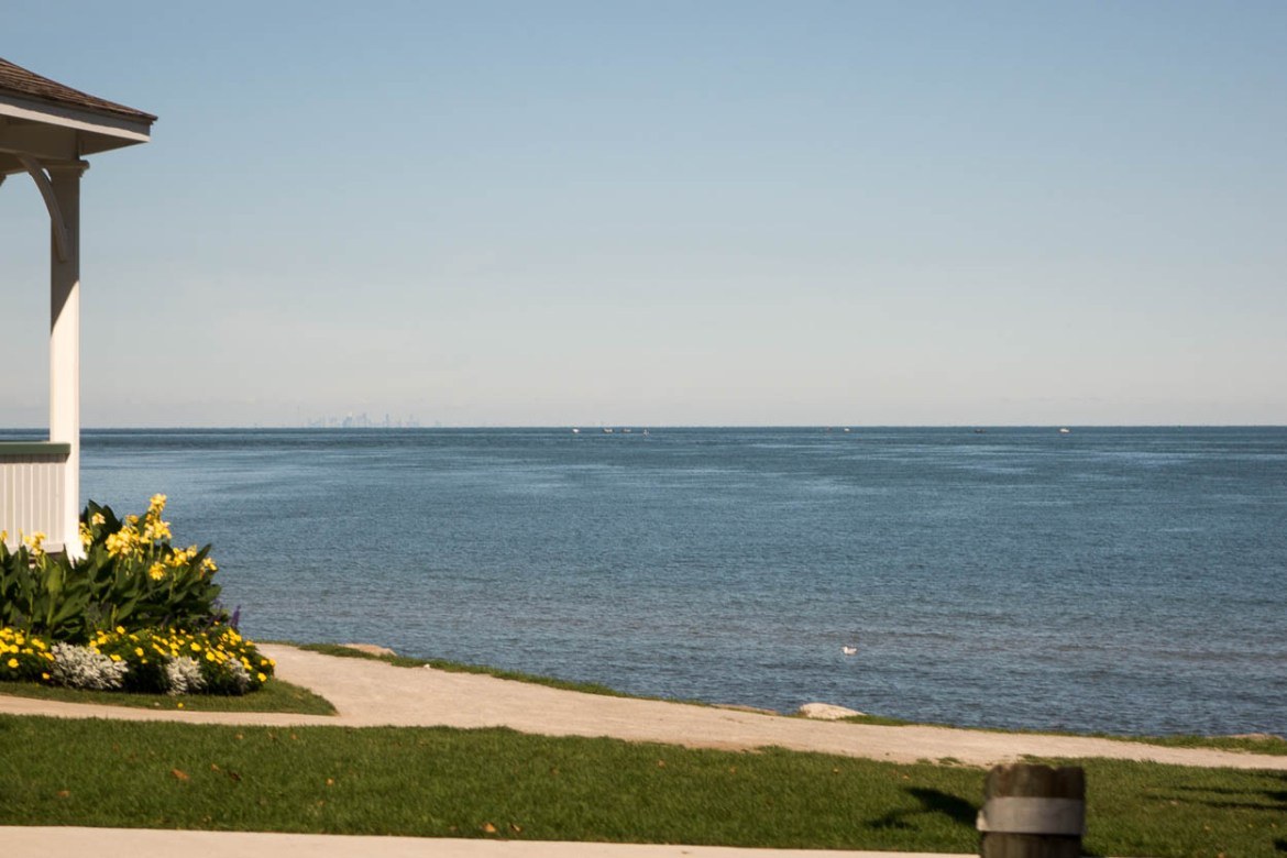 Toronto in the distance across Lake Ontario, seen from Niagara-on-the-Lake