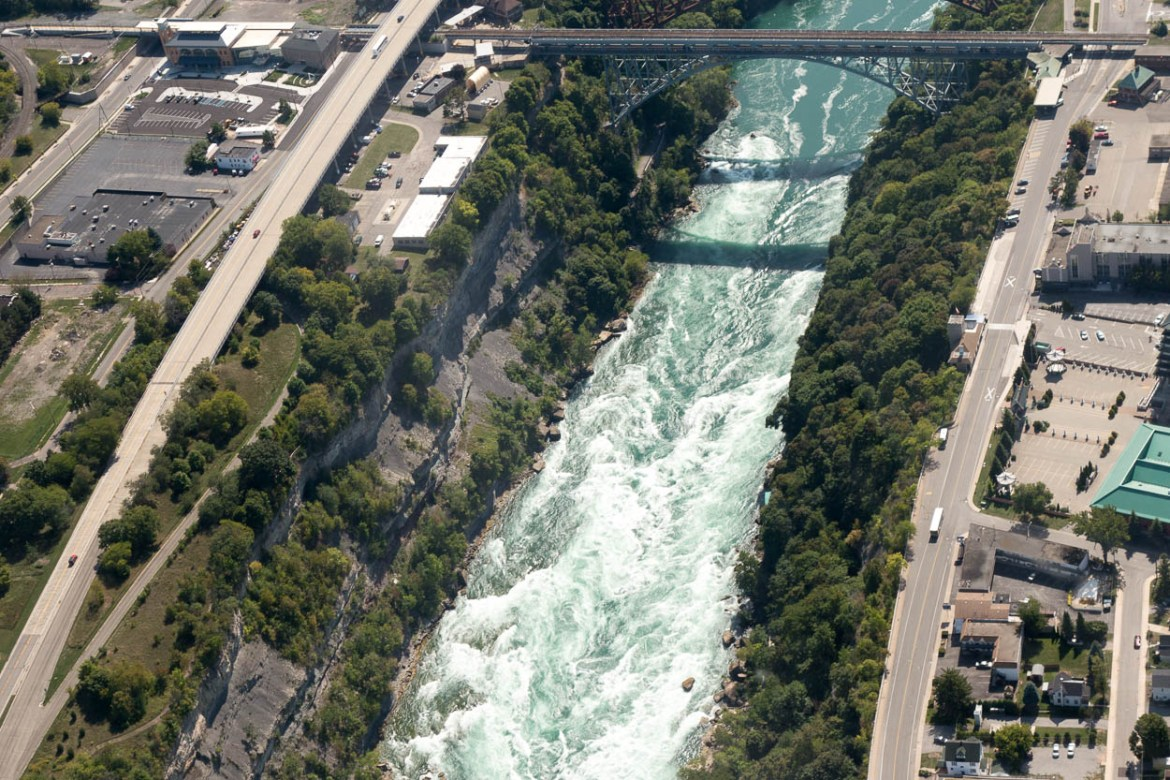 Rapids in the Niagara River seen from the helicopter