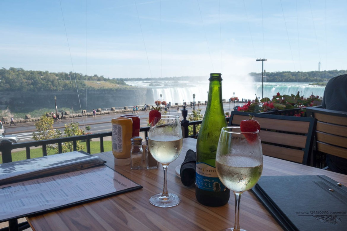 Locally-produced sparkling wine with a view of the Niagara Falls