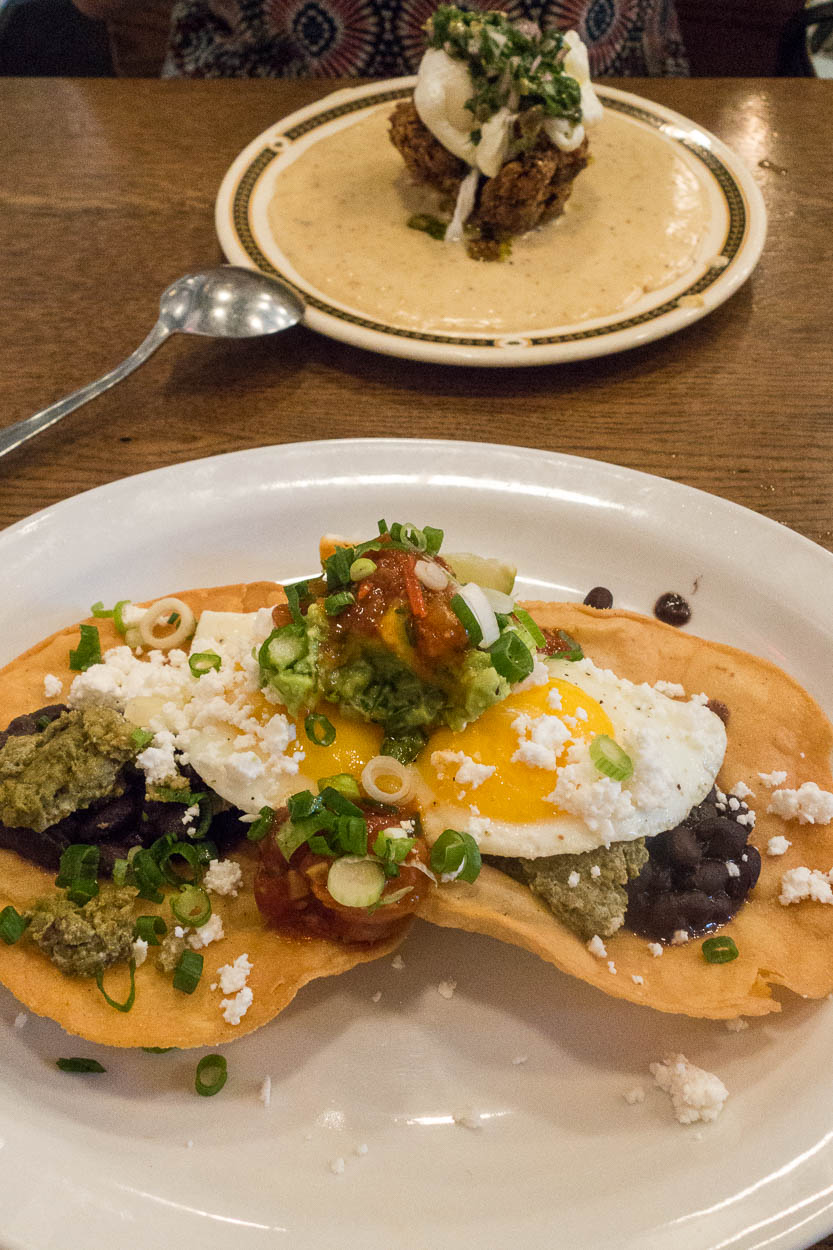 Huevos rancheros and fried chicken and grits at Rose and Sons, Toronto