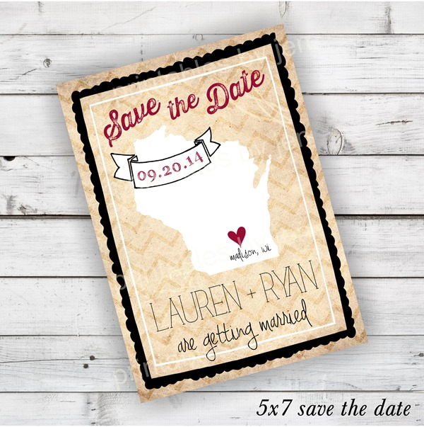 Wisconsin Save the Date in Black and Cranberry Red