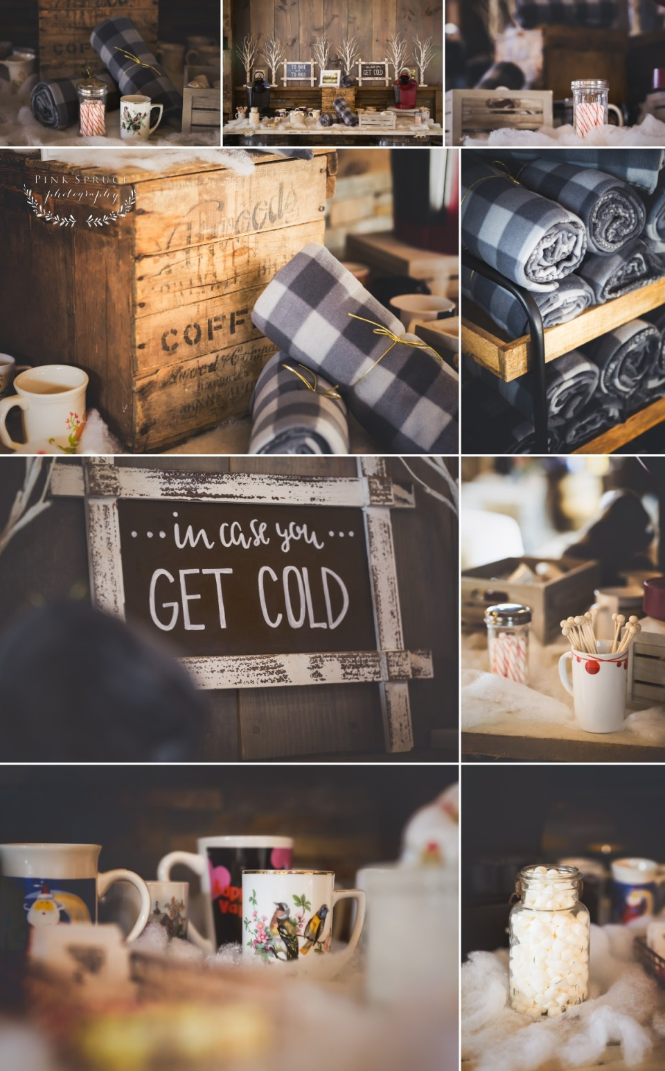 Hot Cocoa Bar for Rustic Winter Wedding at Pedretti's Party Barn, Viroqua, WI | Photography by: Pink Spruce Photography www.pinksprucephotography.com | Lesbian Wedding, Same Sex Wedding, Wisconsin Wedding