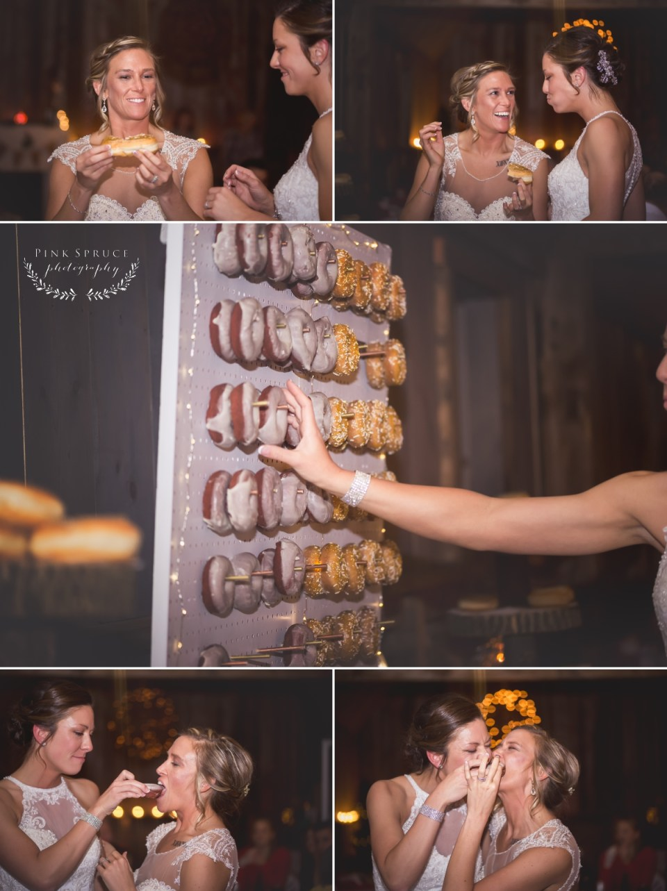 Rustic Winter Wedding at Pedretti's Party Barn, Viroqua, WI | Photography by: Pink Spruce Photography www.pinksprucephotography.com | Lesbian Wedding, Same Sex Wedding, Donut Bar, Cake Cutting, WIsconsin Wedding